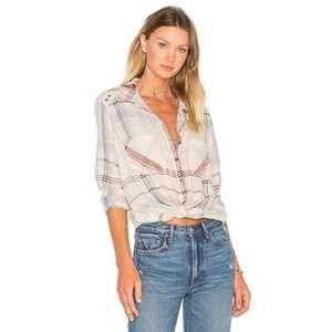 Free People Wesley Plaid Top In Ivory Size XS
